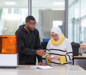 Jordan Kamga (on the left) a Mechanical Engineering coop student from Dalhousie University and NSCC Research Assistant Shaza Abumousa